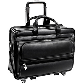 P Series Franklin Leather 17'' Detachable Wheeled Laptop Case Black