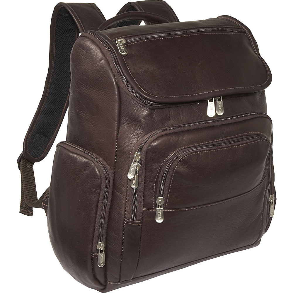 Piel Multi-Pocket Laptop Backpack - Chocolate - Backpacks, Business & Laptop Backpacks