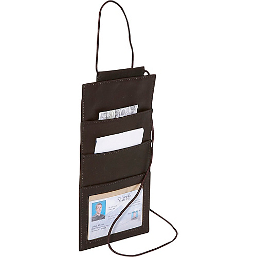 Piel Hanging Travel Wallet Chocolate