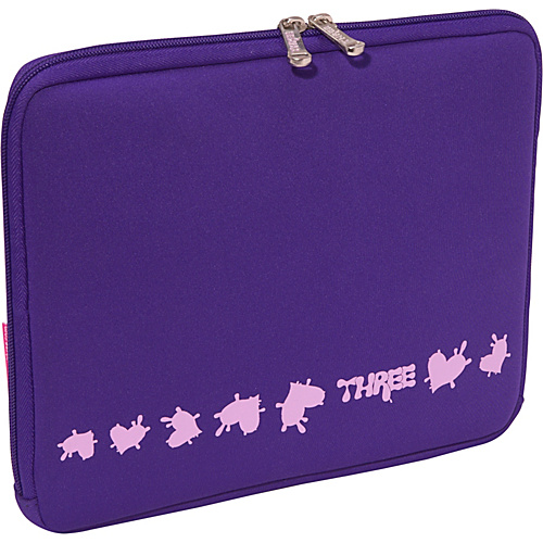 Three Sweet Heart Neoprene Netbook/iPad Sleeve - Purple