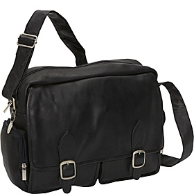 Top Zip Laptop Messenger w/ 2 Front Pockets Black