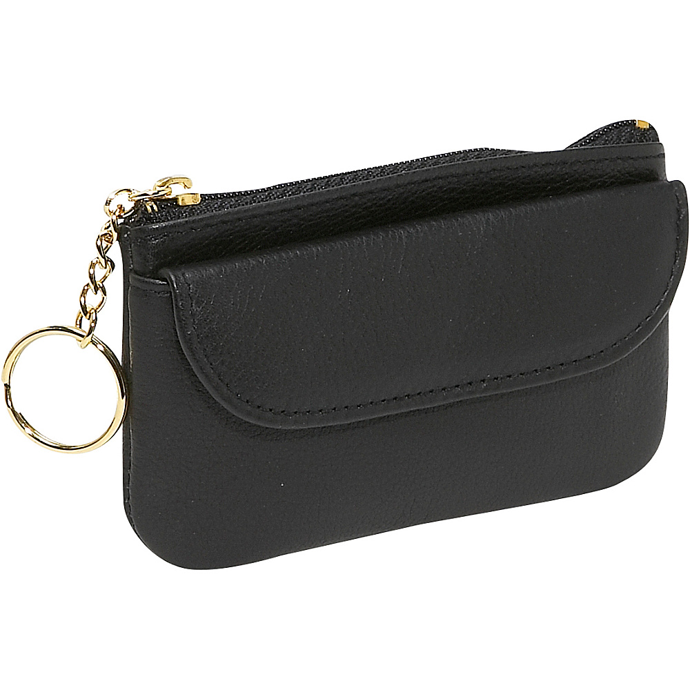 Budd Leather Zippered Coin Purse With Key Ring - Black - Women's SLG, Women's Wallets
