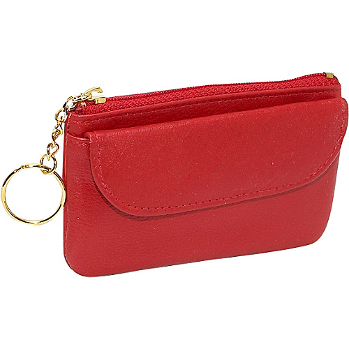 Budd Leather Zippered Coin Purse With Key Ring - Red