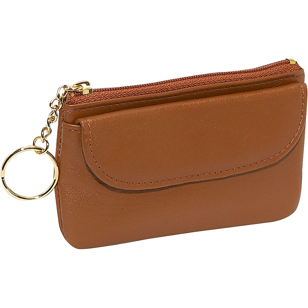 Budd Leather Zippered Coin Purse With Key Ring Tan