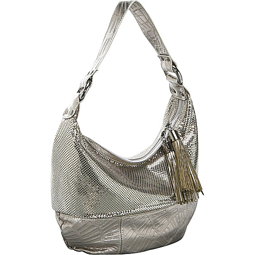Whiting and Davis Fan Leather Hobo - Pewter