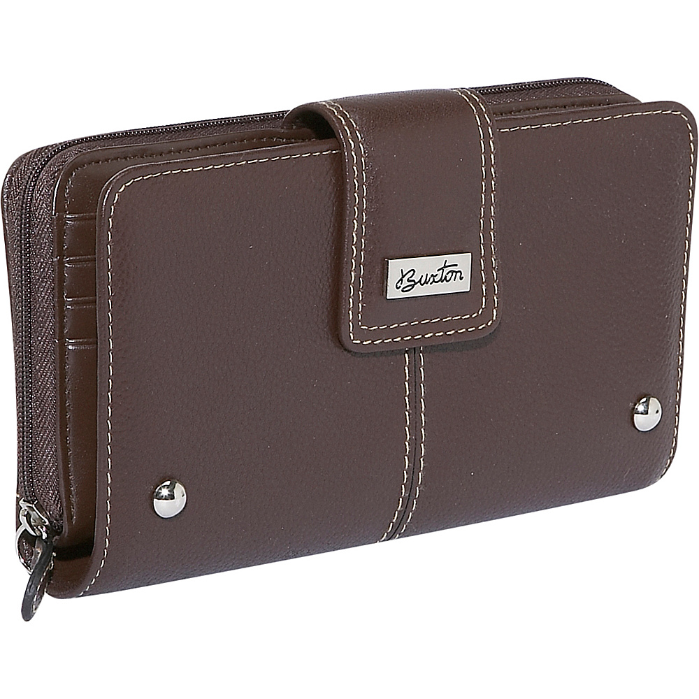 Buxton Westcott Zip Organizer Clutch - Brown - Women's SLG, Women's Wallets
