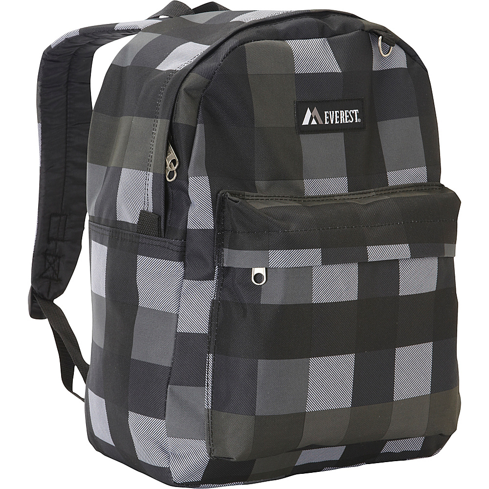 Everest Pattern Printed Backpack Charcoal Gray Plaid - Everest Everyday Backpacks - Backpacks, Everyday Backpacks