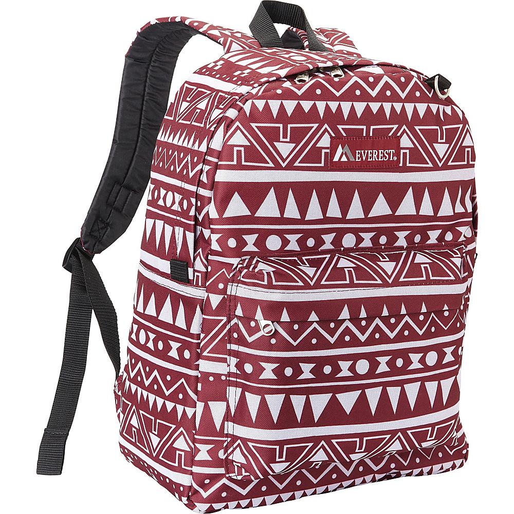 Everest Pattern Printed Backpack Burgundy/White Ethnic - Everest Everyday Backpacks - Backpacks, Everyday Backpacks