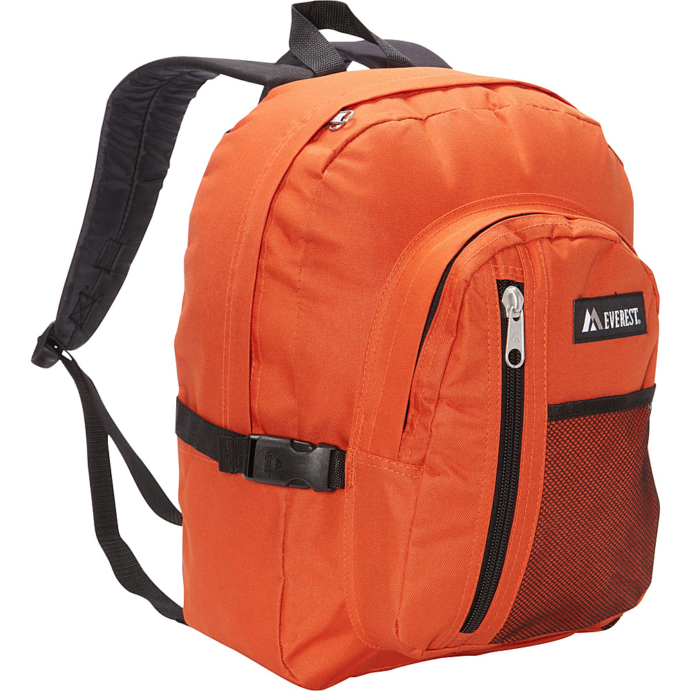 Everest Backpack with Front Mesh Pocket Rust Orange Black Everest Everyday Backpacks