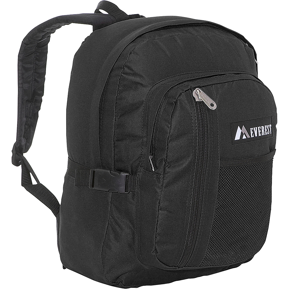 Everest Backpack with Front Mesh Pocket - Black - Backpacks, Everyday Backpacks