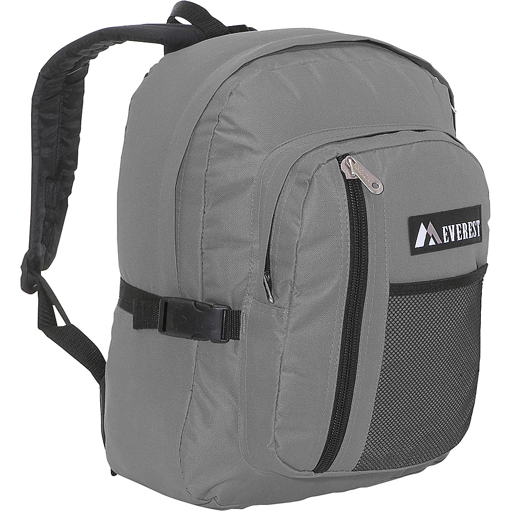 Everest Backpack with Front Mesh Pocket - Gray/Black - Backpacks, Everyday Backpacks