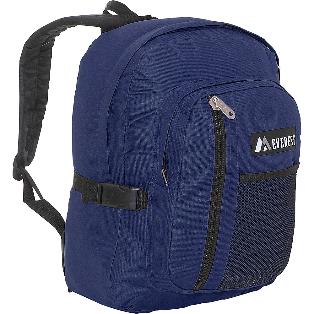 Everest Backpack with Front Mesh Pocket - Navy/Black - Backpacks, Everyday Backpacks