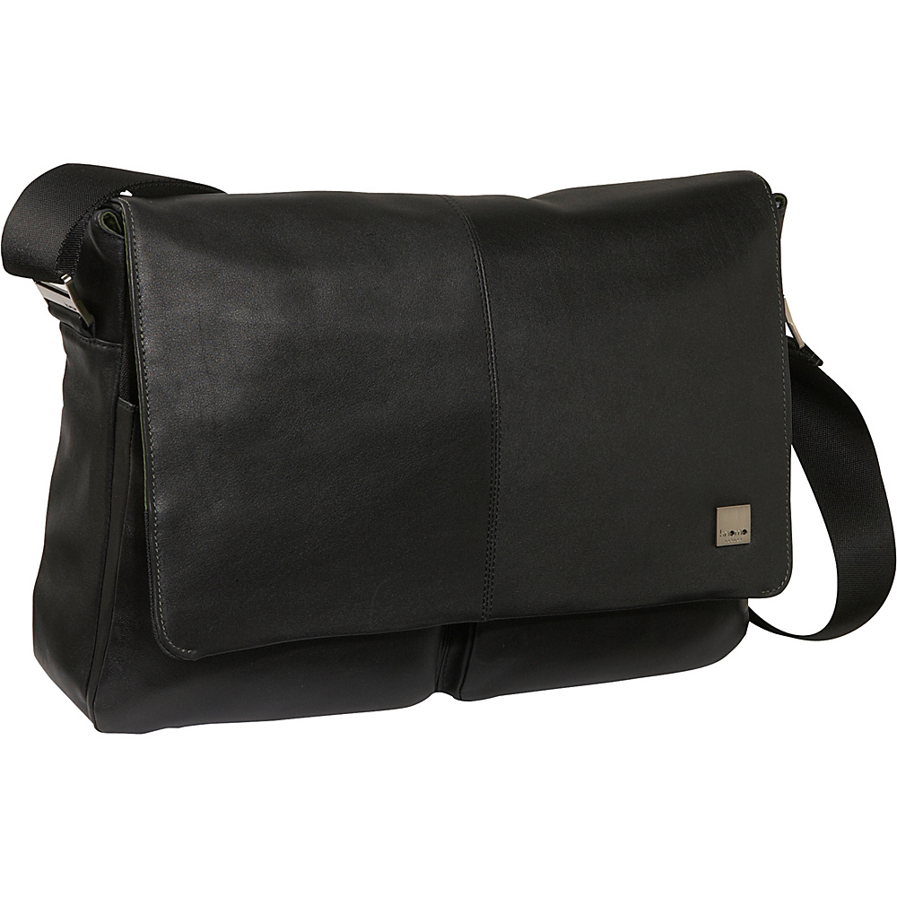 Knomo Kobe Soft Leather Laptop Messenger - Black - Work Bags & Briefcases, Messenger Bags