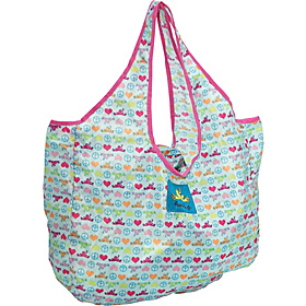 Packable Tote Peace Love Frog Print - Aqua