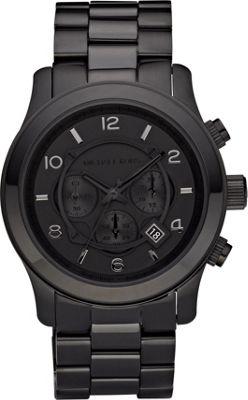 Michael Kors Watches Men's Black Leather Chronograph