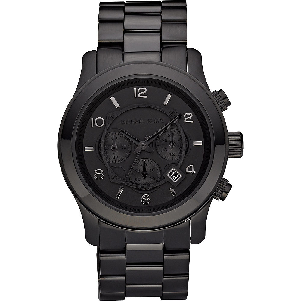 Michael Kors Watches Men's Black Leather Chronograph