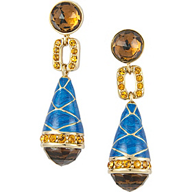 Blue Enamel Earrings Gold