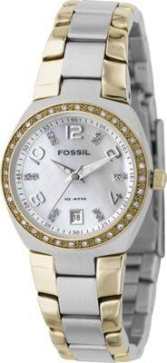 Fossil Fossil Ladies 3-Hand Dual Toned MOP Dial Glitz Watch Silver - Fossil Watches