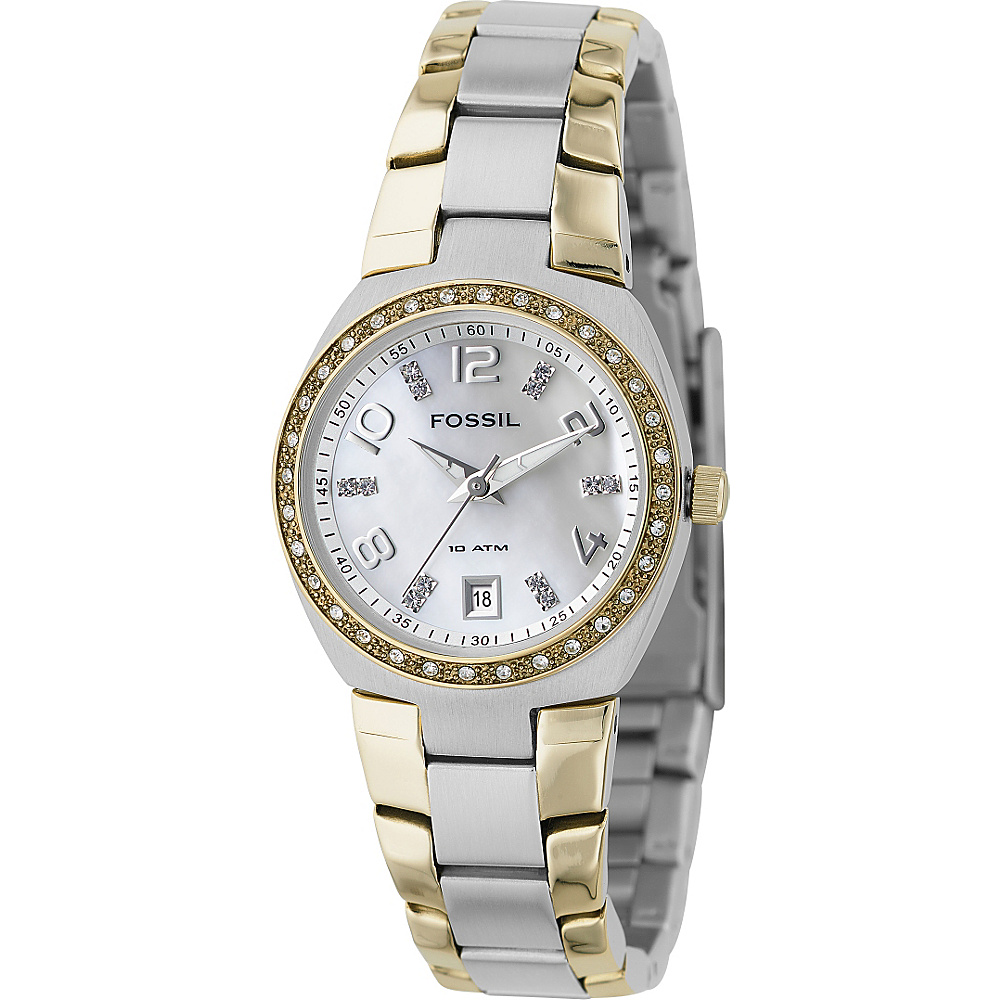 Fossil Fossil Ladies 3 Hand Dual Toned MOP Dial Glitz Watch Silver Fossil Watches