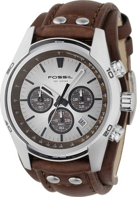 Fossil Men's Stainless Steel Chronograph Watch with Genuine Brown Leather Strap Brown - Fossil Watches