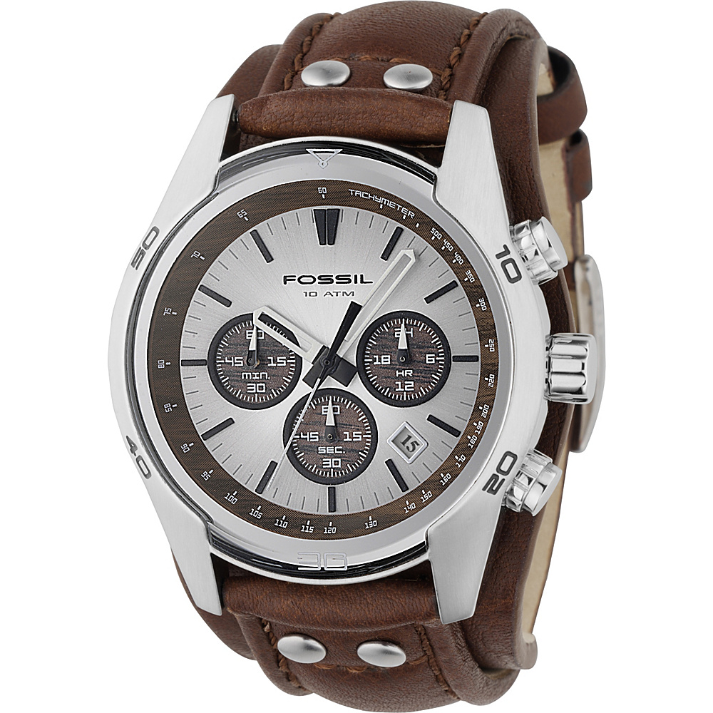 Fossil Men s Stainless Steel Chronograph Watch with Genuine Brown Leather Strap Brown Fossil Watches