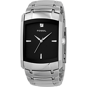 Men's Three-Hand Stainless Steel Black Dial Dress Watch Black