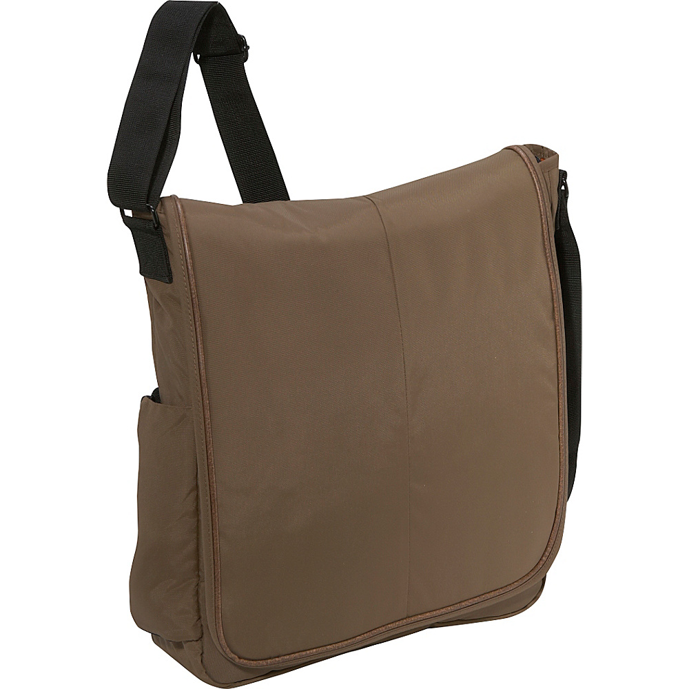 Derek Alexander Full Flap Messenger Bag - Taupe - Work Bags & Briefcases, Messenger Bags