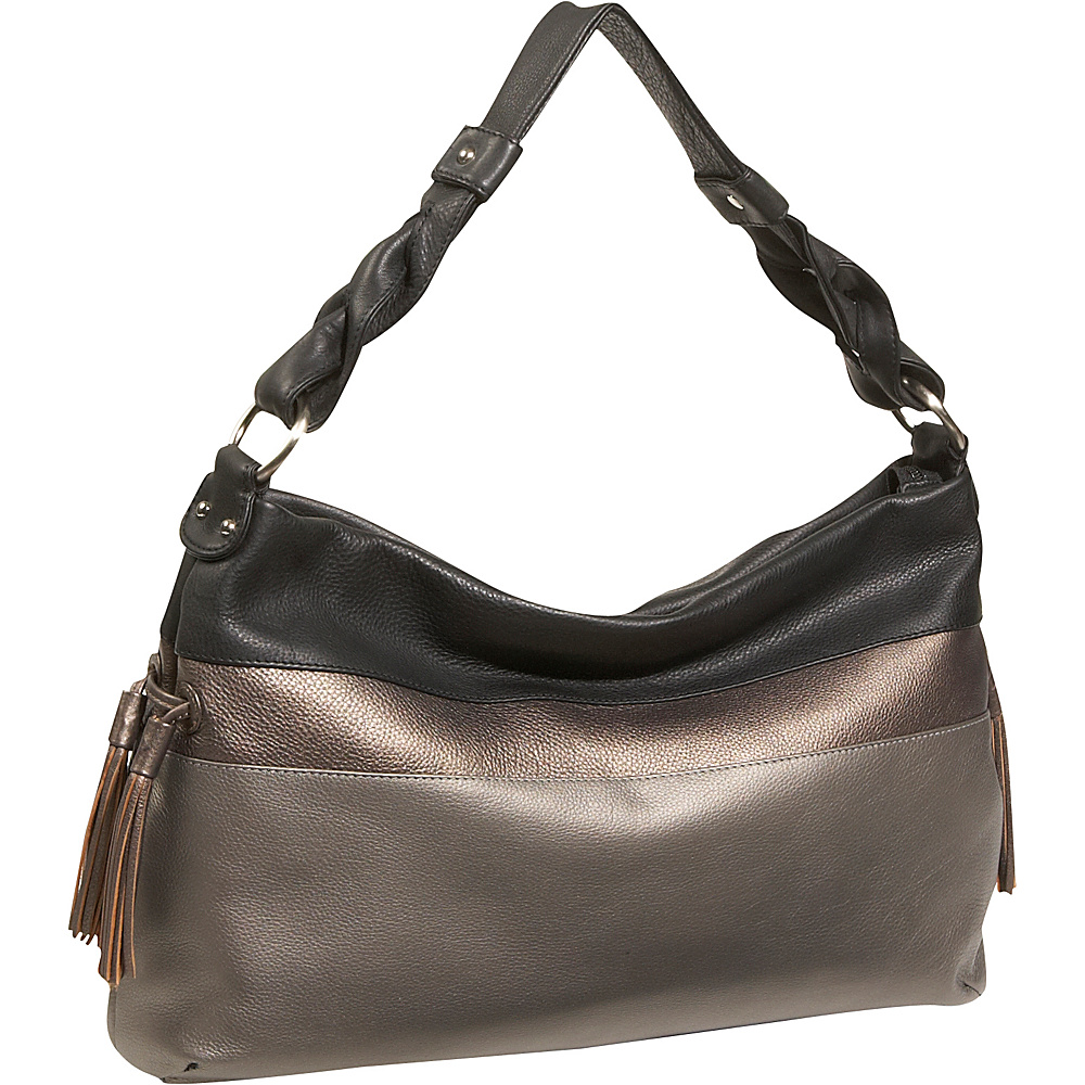 Derek Alexander EW top zip - Black/Silver - Handbags, Leather Handbags