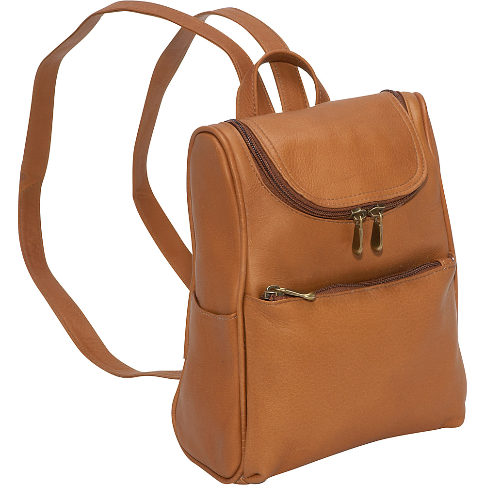 Le Donne Leather Women's Everyday Backpack Purse - Tan