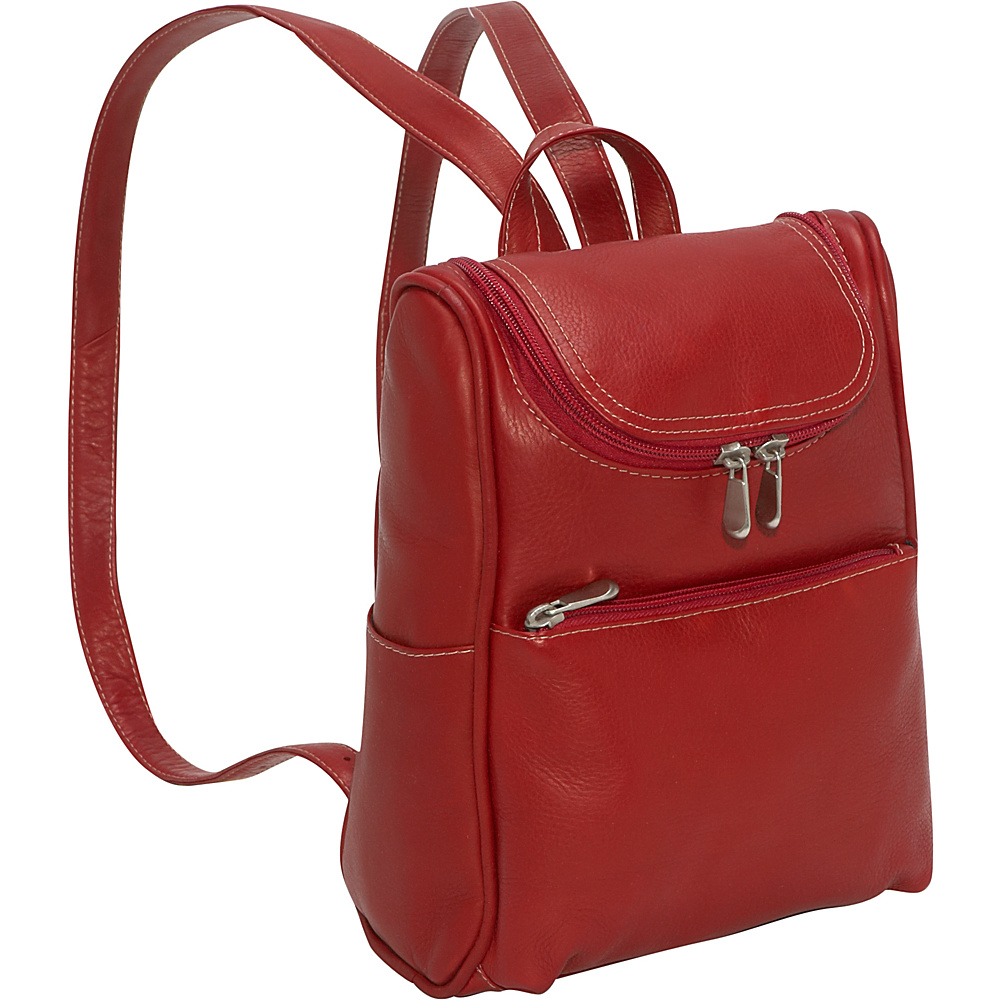 Le Donne Leather Women's Everyday Backpack Purse - Red