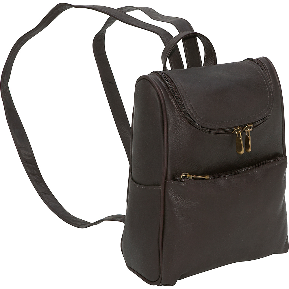 Le Donne Leather Women's Everyday Backpack Purse - Caf