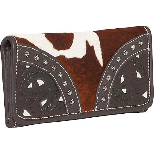 American West Prairie Rose Hair-Flap Wallet - Brown &