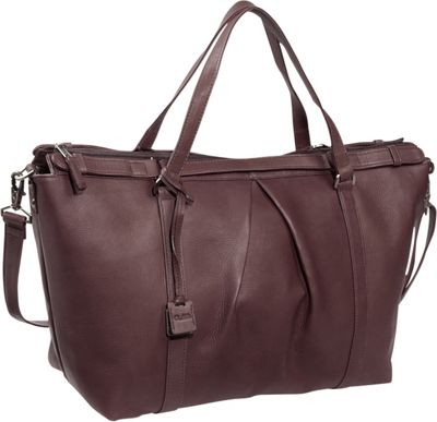 Clava Pleated Ziptop Shoulder Bag Vachetta Cafe - Clava Leather Handbags