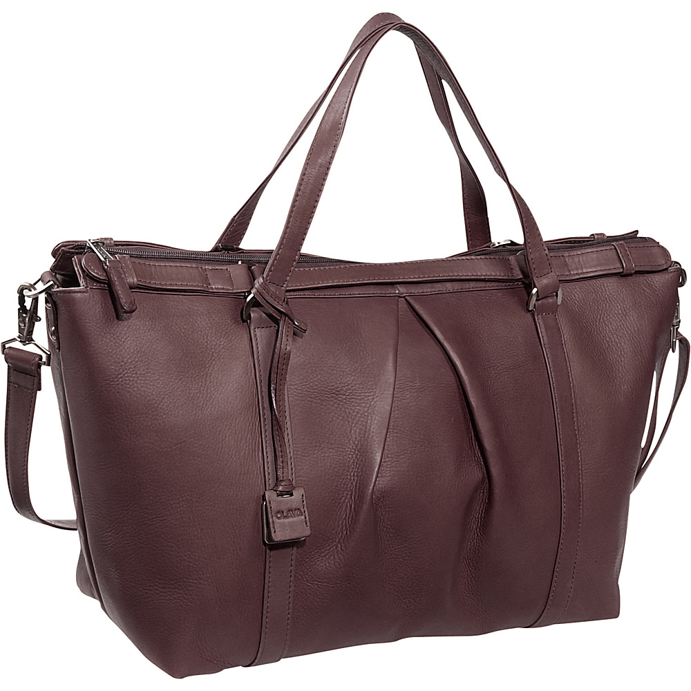 Clava Pleated Ziptop Shoulder Bag Vachetta Cafe - Clava Leather Handbags - Handbags, Leather Handbags