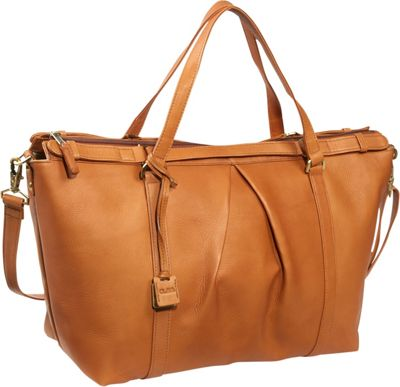 Clava Pleated Ziptop Shoulder Bag - Vachetta Tan