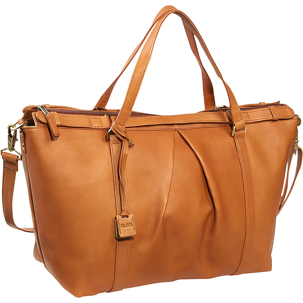 Clava Pleated Ziptop Shoulder Bag - Vachetta Tan - Handbags, Leather Handbags