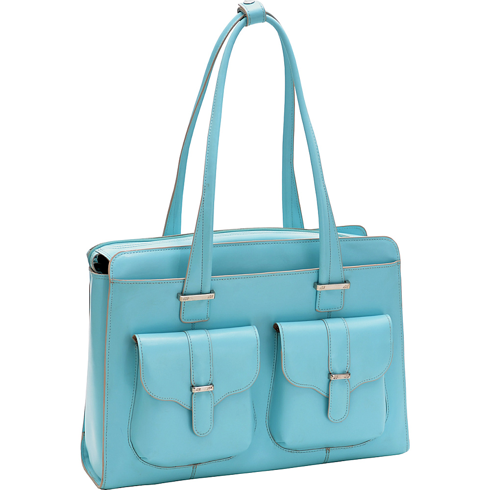 McKlein USA Alexis 14  Ladies Laptop Case Aqua Blue - McKlein USA Womens Business Bags - Work Bags & Briefcases, Women's Business Bags