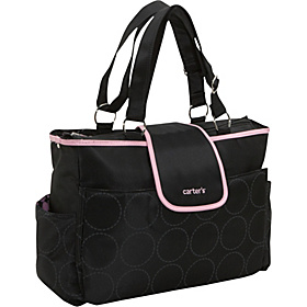 Carter's Tonal Dot Tote Black w/Pink Trim