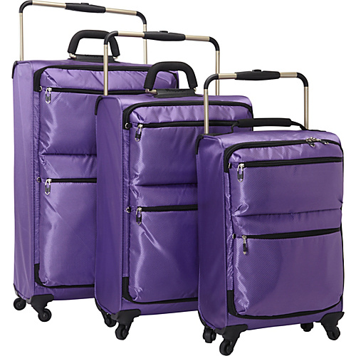 IT Luggage IT--4 World's Lightest 4-Wheel Spinner 3 Piece Luggage Set Passion Flower Purple - IT Luggage Luggage Sets