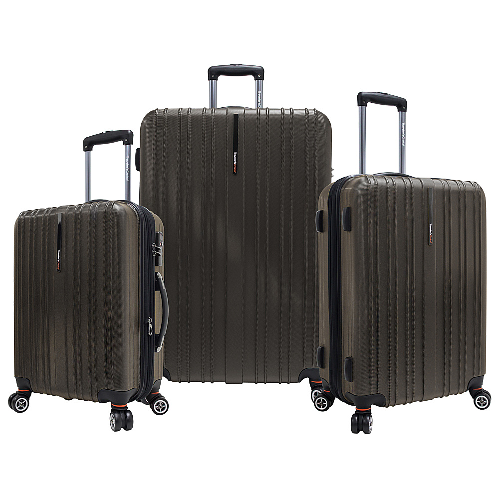 Travelers Choice Tasmania 3-Piece Expandable Hardside Spinner Luggage Set Brown - Travelers Choice Luggage Sets - Luggage, Luggage Sets