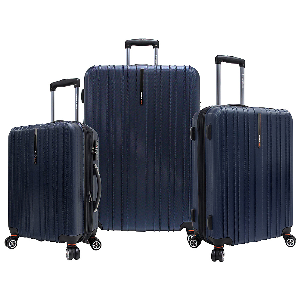 Travelers Choice Tasmania 3-Piece Expandable Hardside Spinner Luggage Set Navy - Travelers Choice Luggage Sets - Luggage, Luggage Sets