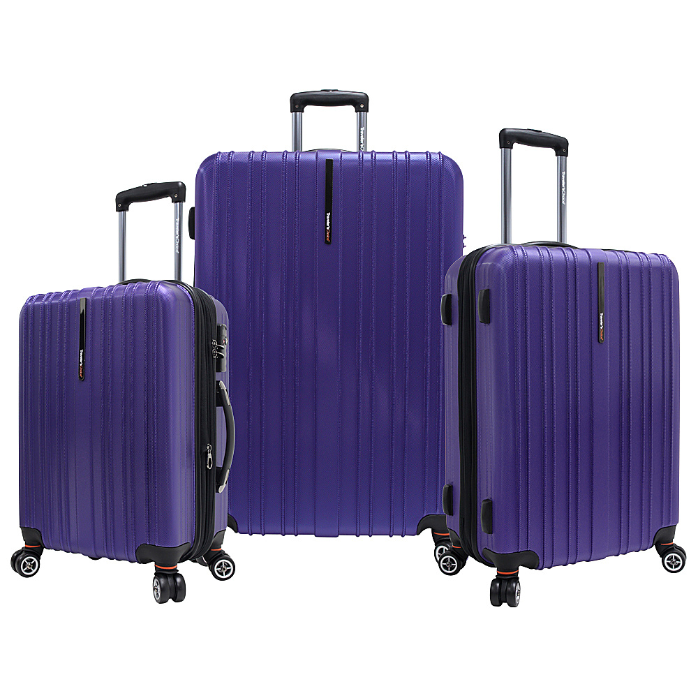 Travelers Choice Tasmania 3-Piece Expandable Hardside Spinner Luggage Set Purple - Travelers Choice Luggage Sets - Luggage, Luggage Sets