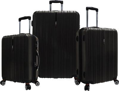 Traveler's Choice Tasmania 3-Piece Expandable Hardside Spinner Luggage Set Black - Traveler's Choice Luggage Sets