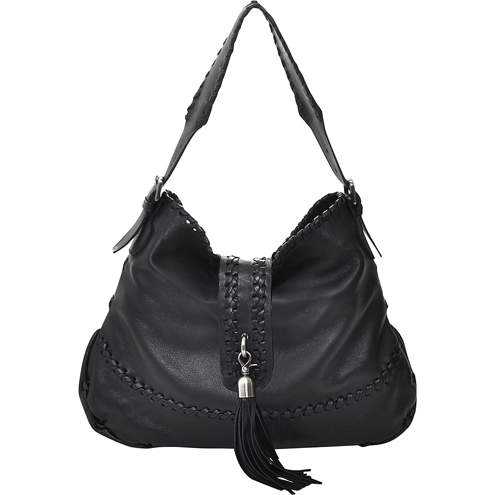 Carla Mancini Tall Whipstitched Hobo Black - Carla Mancini Leather Handbags