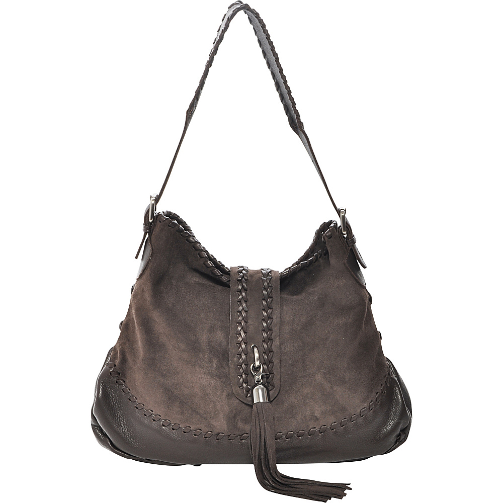 Carla Mancini Tall Whipstitched Hobo Brown Nubuck - Carla Mancini Leather Handbags