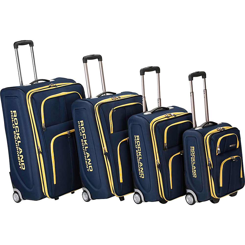 Rockland Luggage Polo Equipment 4 Piece Luggage Set Navy - Rockland Luggage Luggage Sets