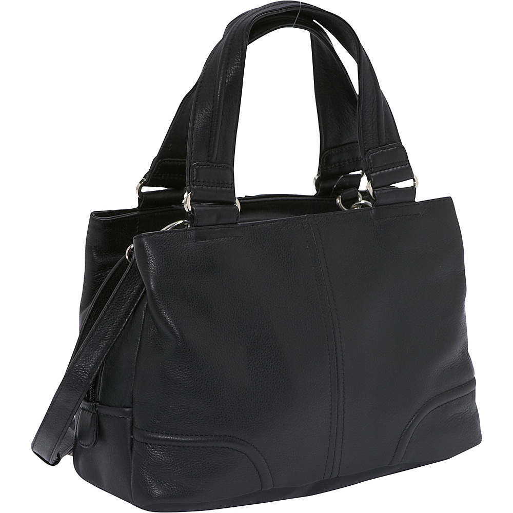 Derek Alexander Three Comp Top Zip - Black - Handbags, Leather Handbags