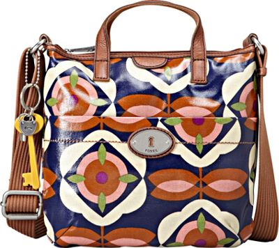 Fossil Key Per Crossbody Blue Floral Fossil Fabric Handbags