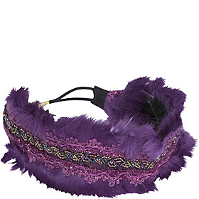 Faux Fur and Bead Wide Headband Purple