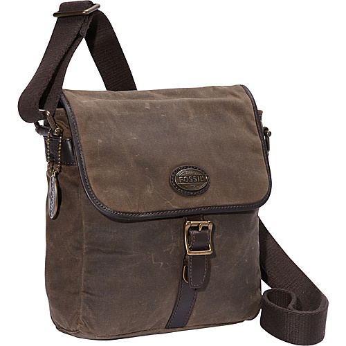 Fossil Estate Canvas City Bag Olive - Fossil Men's Bags
